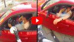 Нахалка выбросила бутылку из окна автомобиля. Тогда судьба преподнесла ей урок.