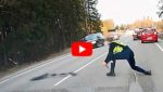 Эстонский полицейский эффектно остановил машину с торчком за рулем