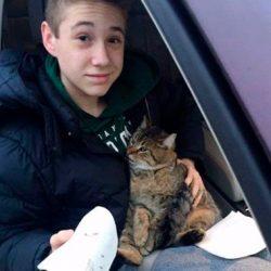 Кота выбросили из движущегося фургона. Парень мигом бросился спасать животное...